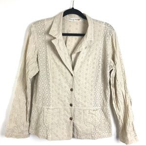 Johnny Was Floral Eyelet Jacket Size Large